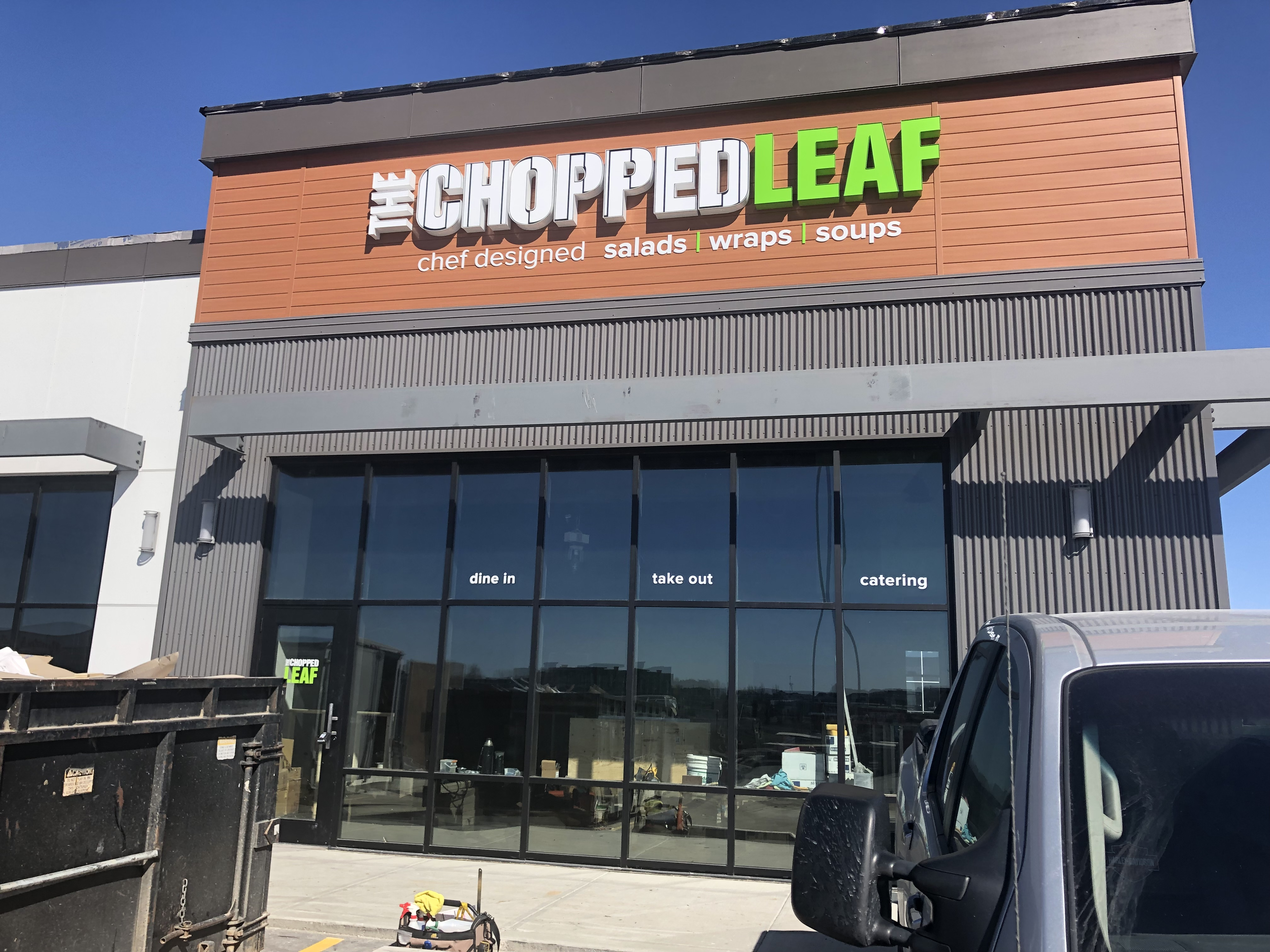 Installed The chopped Leaf signage