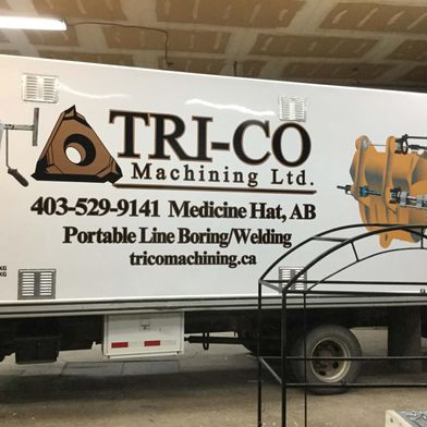 Tri-co signage for a truck